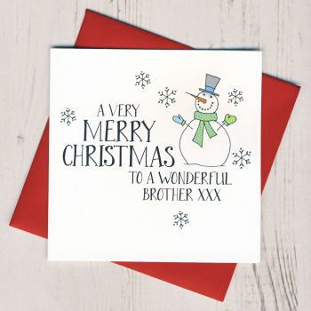 Wobbly Eyes Brother Christmas Card