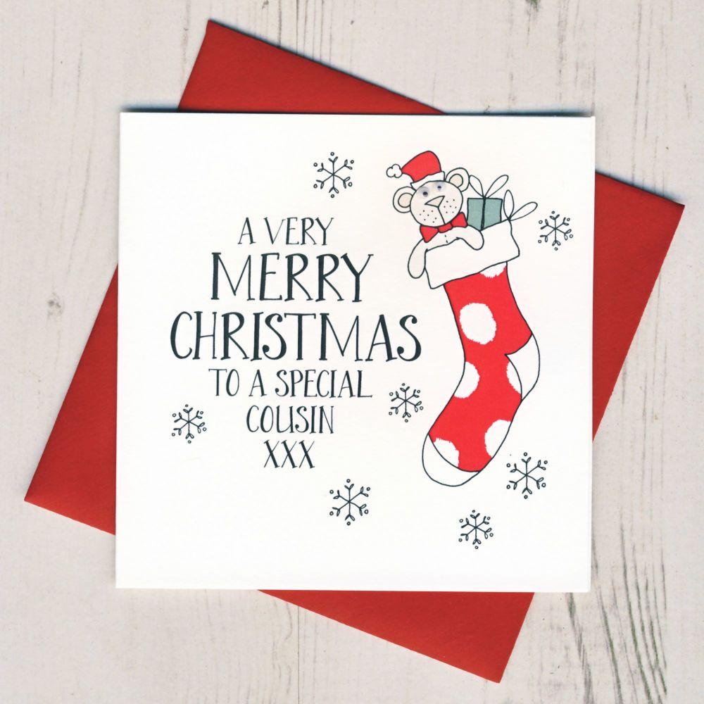 Wobbly Eyes Cousin Christmas Card