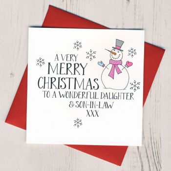 Wobbly Eyes Daughter & Son-in-Law 0r Partner Christmas Card