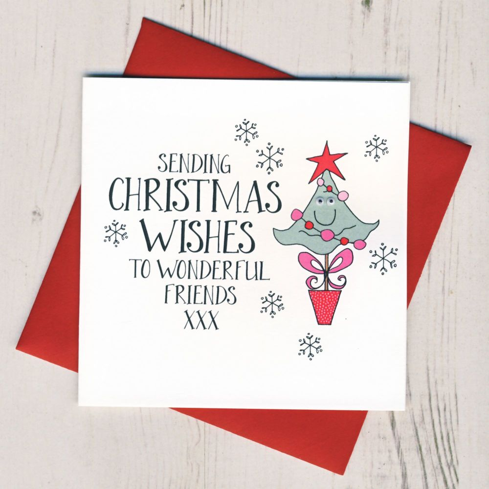 Wobbly Eyes Friends Christmas Card