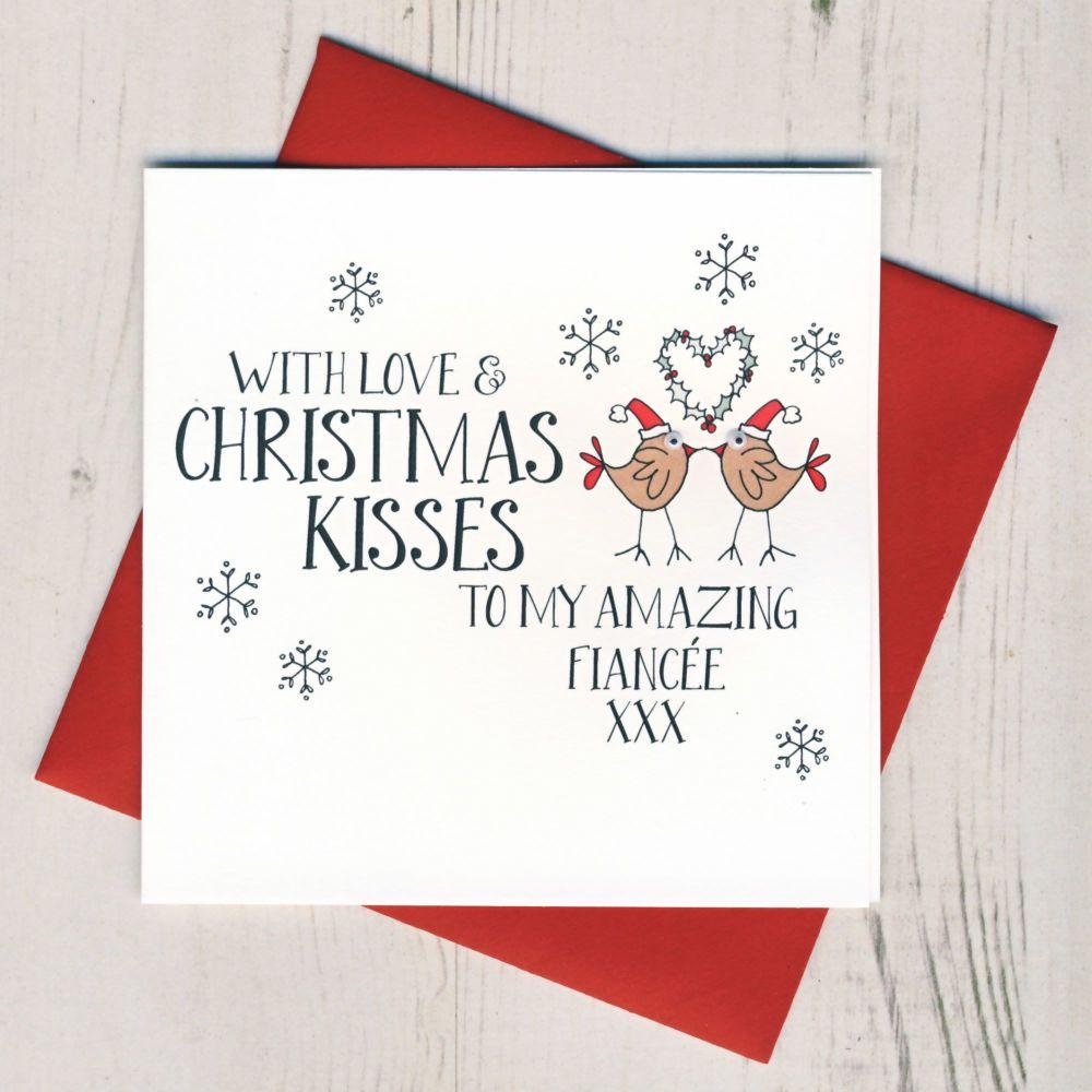 Wobbly Eyes Fiancee Christmas Card