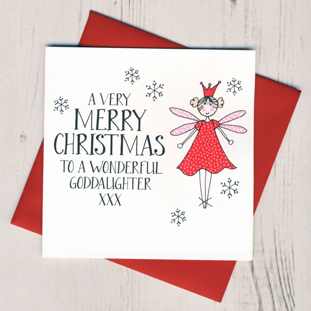 Wobbly Eyes Goddaughter Christmas Card