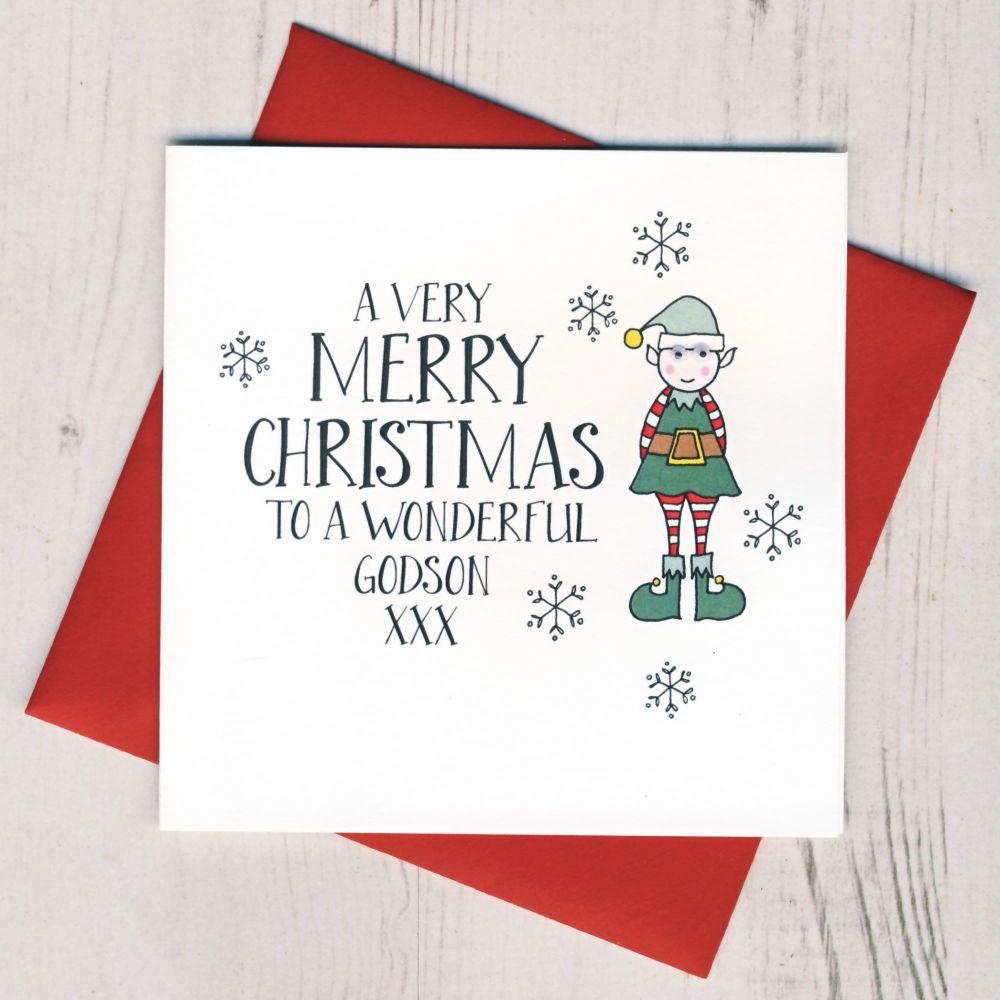 Wobbly Eyes Godson Christmas Card