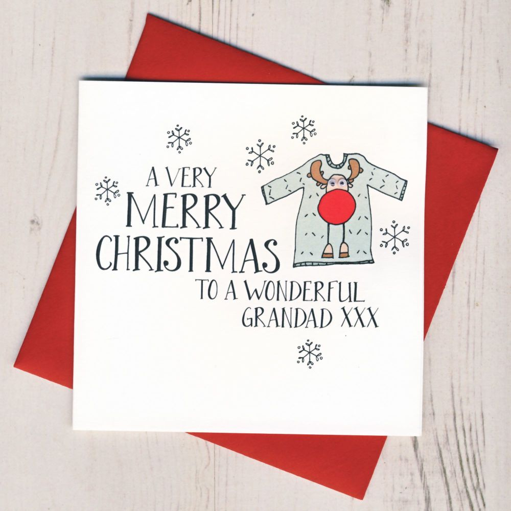 Wobbly Eyes Grandad Christmas Card
