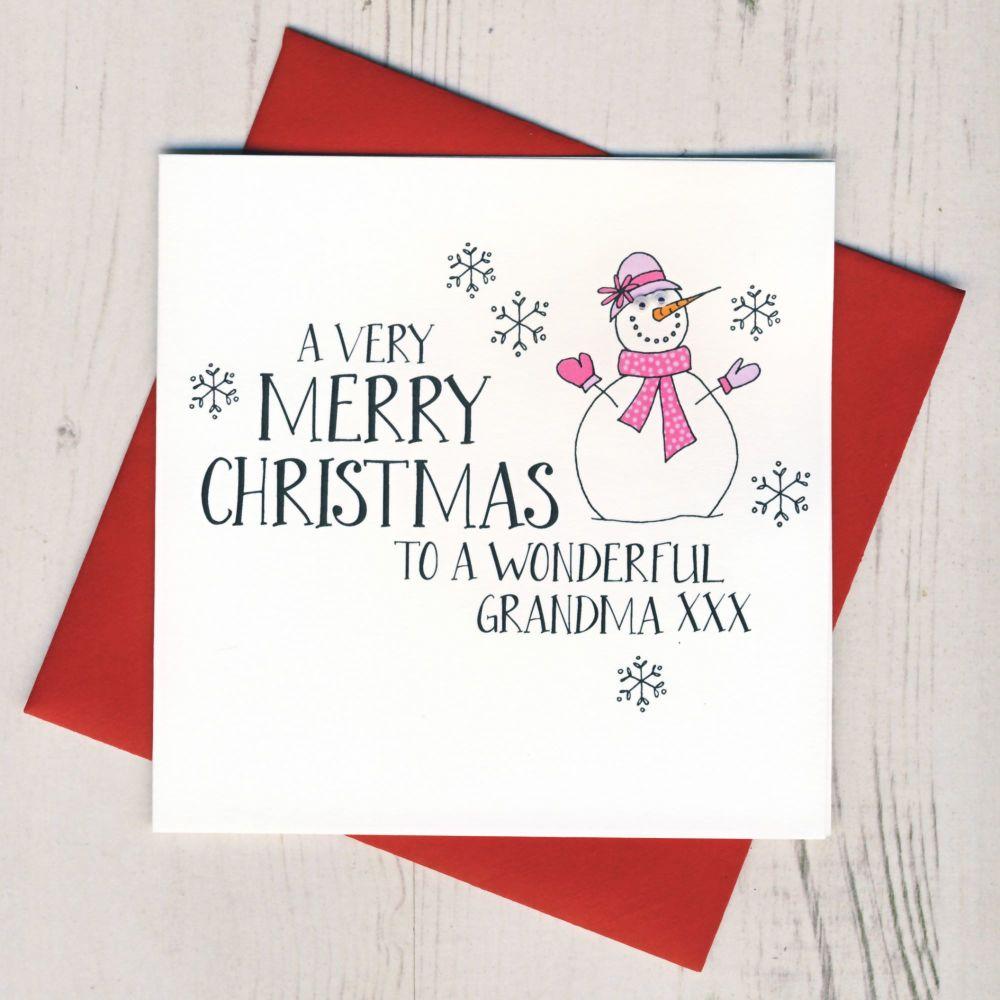 Wobbly Eyes Grandma Christmas Card