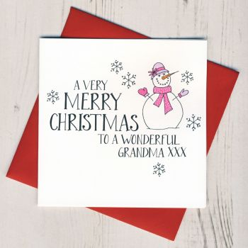 Wobbly Eyes Grandma Christmas Card