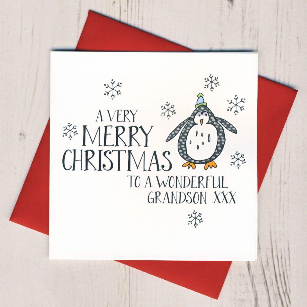 Wobbly Eyes Grandson Christmas Card