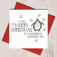 <!-- 002-->Wobbly Eyes Grandson Christmas Card