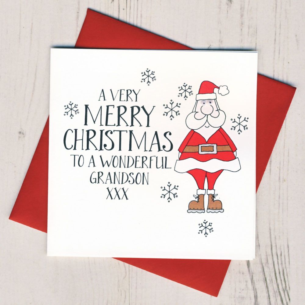 Wobbly Eyes Grandson Christmas Card