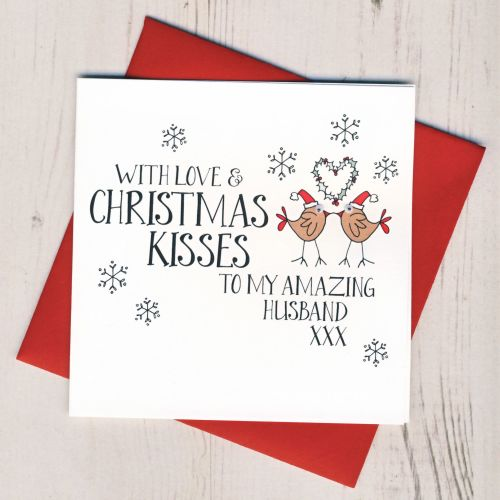 Husband Christmas Cards.Wobbly Eyes Husband Christmas Card
