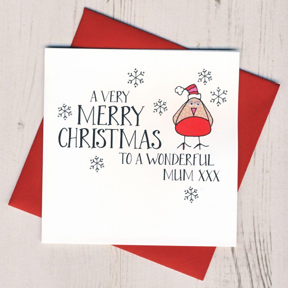 Wobbly Eyes Mum Christmas Card