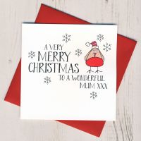 <!-- 005 -->Wobbly Eyes Mum Christmas Card