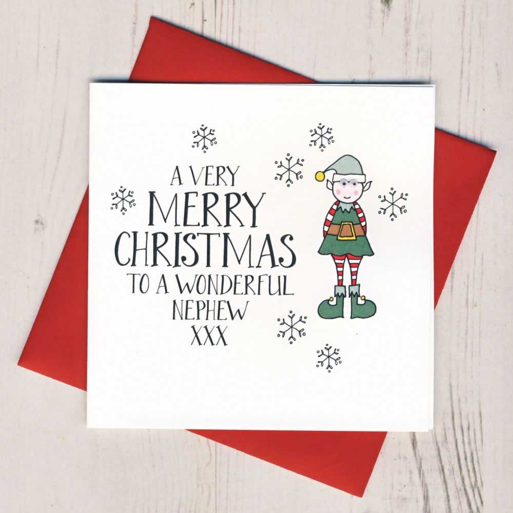 Wobbly Eyes Nephew Christmas Card