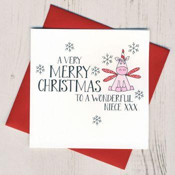 Wobbly Eyes Niece Christmas Card