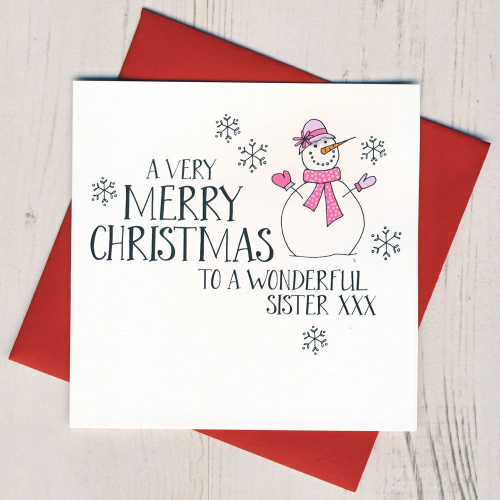 Wobbly Eyes Sister Christmas Card