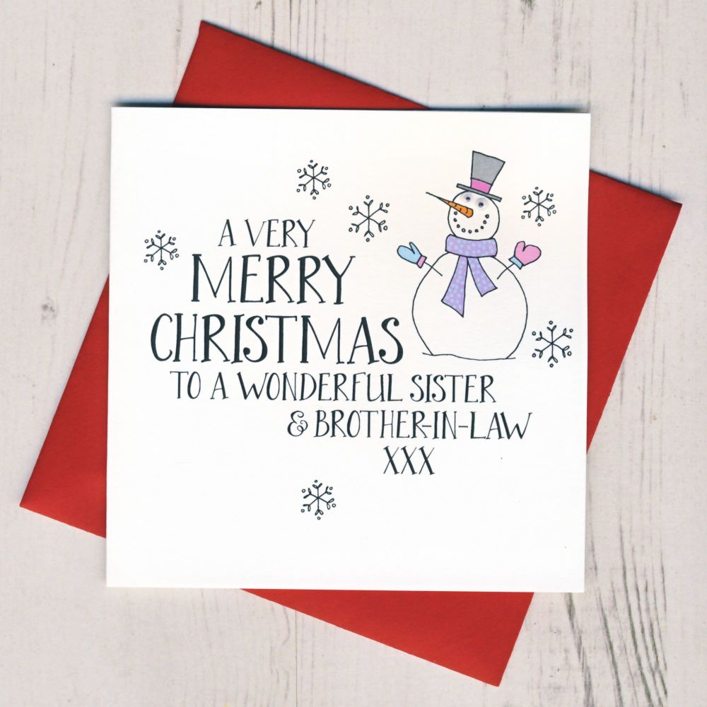 Wobbly Eyes Sister & Brother-in-Law or Partner Christmas Card