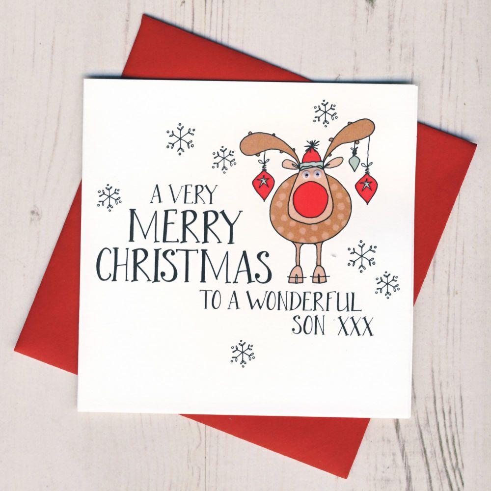 Wobbly Eyes Son Christmas Card