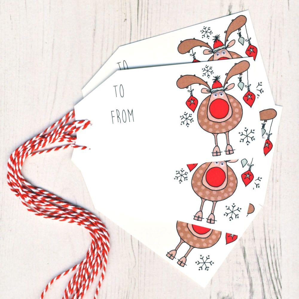 Pack of 5 Reindeer Gift Tags
