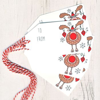 Pack of 5 Reindeer Christmas Gift Tags