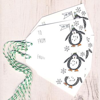 Pack of 5 Penguin Christmas Gift Tags
