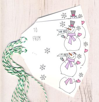 Pack of 5 Snowman Christmas Gift Tags