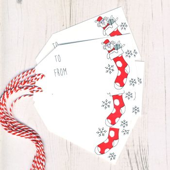 Pack of 5 Stocking Christmas Gift Tags