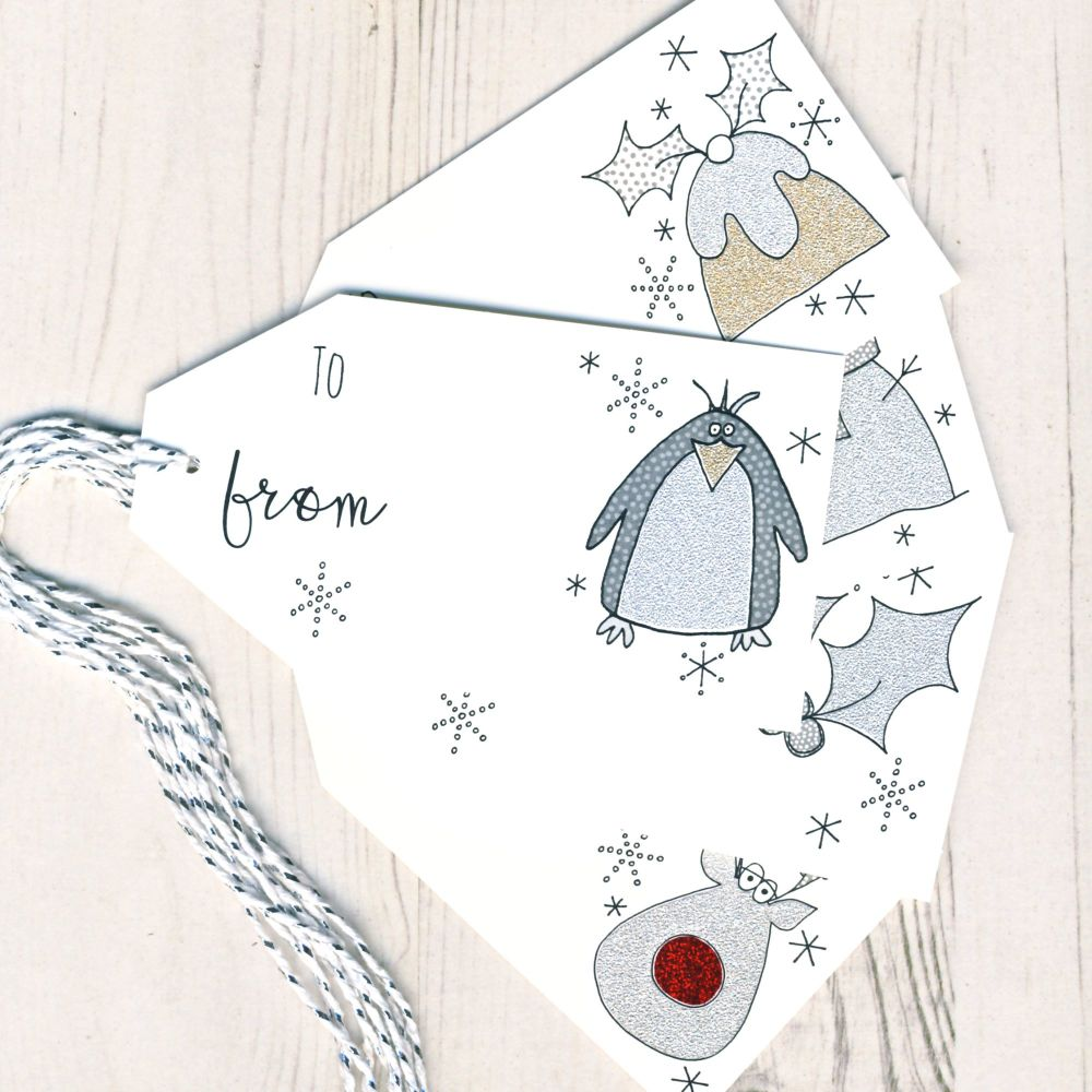 Mixed Pack of 5 Glittery Gift Tags