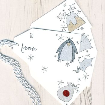 Mixed Pack of 5 Glittery Christmas Gift Tags