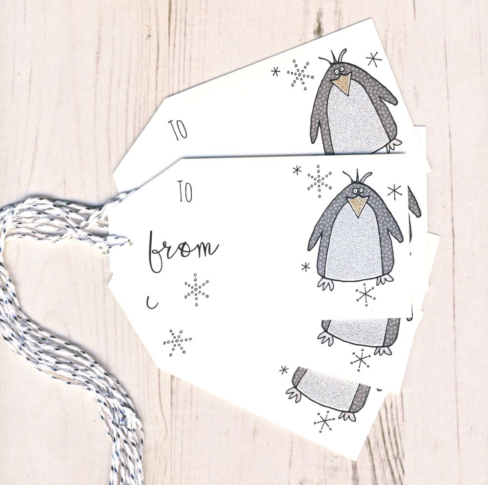 Pack of 5 Penquin Glittery Gift Tags