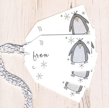 Pack of 5 Glittery Penguin Christmas Gift Tags