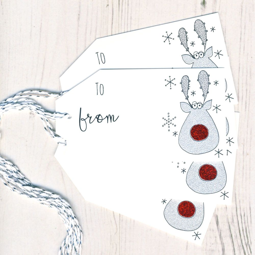 Pack of 5 Glittery Rudolph Gift Tags
