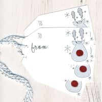 Pack of 5 Glittery Rudolph Christmas Gift Tags