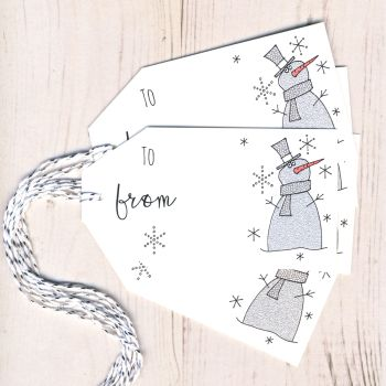 Pack of 5 Glittery Snowman Christmas Gift Tags