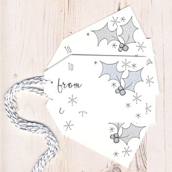 Pack of 5 Glittery Holly Christmas Gift Tags