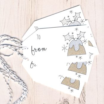 Pack of 5 Glittery Pudding Christmas Gift Tags