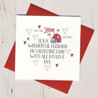 <!-- 004 -->Wobbly Eyes Husband Valentines Card