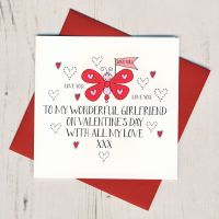 <!-- 014 -->Wobbly Eyes Girlfriend Valentines Card