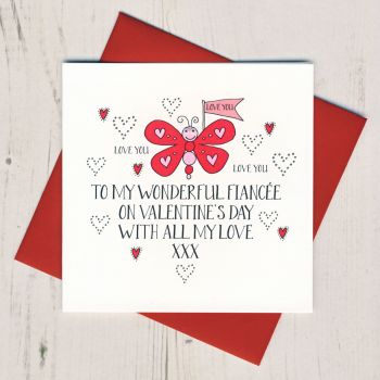 Wobbly Eyes Fiancee Valentines Card