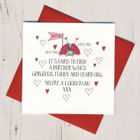 <!-- 020 -->Wobbly Eyes You're A Lucky Man Valentines Card