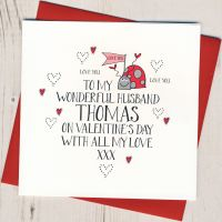 <!-- 002 -->Personalised Wobbly Eyes Husband Valentines Card