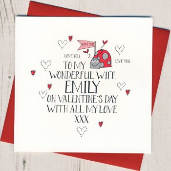 Personalised Wobbly Eyes Wife Valentines Card
