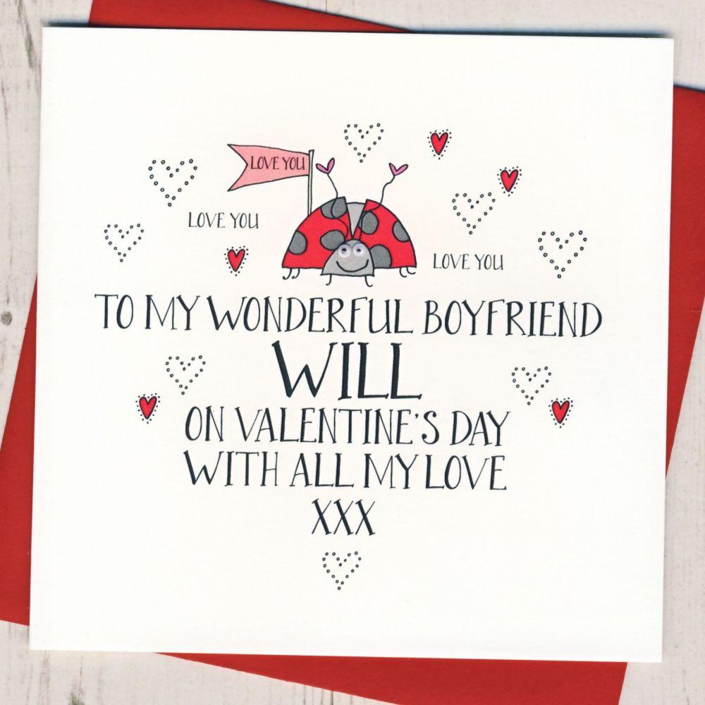 Personalised Wobbly Eyes Boyfriend Valentines Card