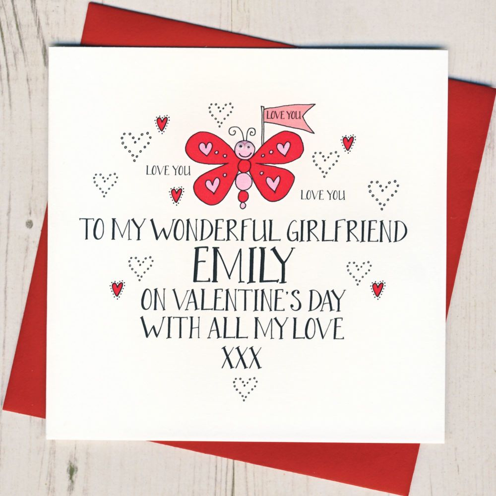 Personalised Wobbly Eyes Girlfriend Valentines Card