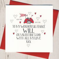 <!-- 014 -->Personalised Wobbly Eyes Fiance Valentines Card