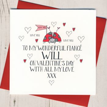 Personalised Wobbly Eyes Fiance Valentines Card