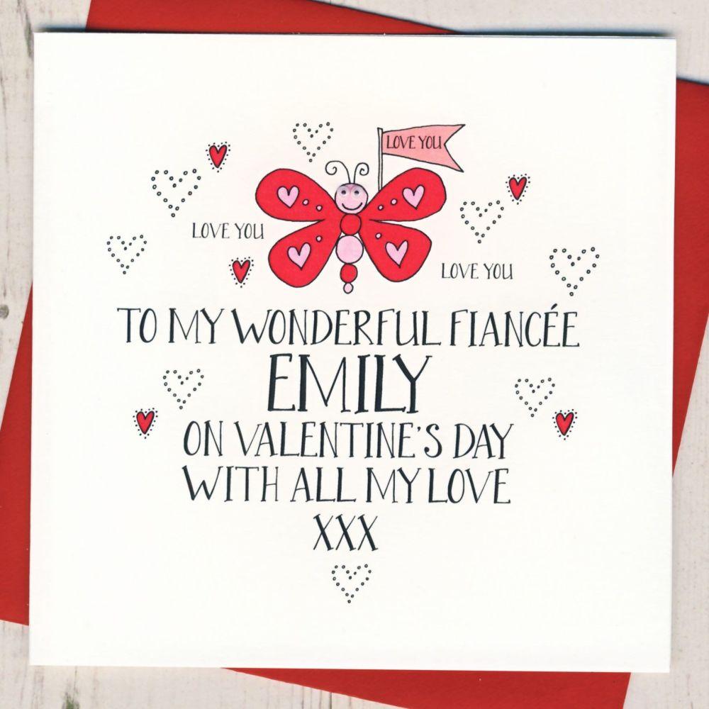 Personalised Wobbly Eyes Fiancee Valentines Card