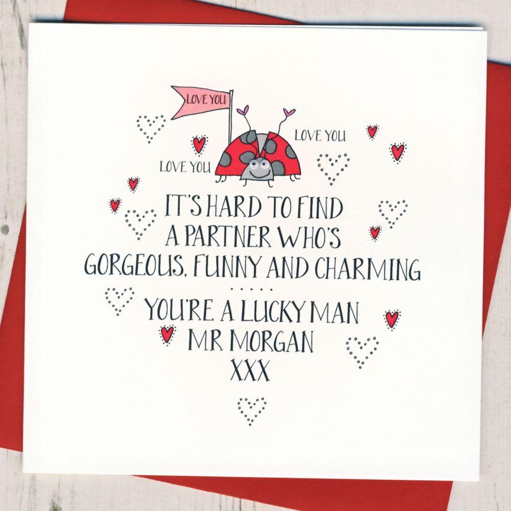 Personalised Wobbly Eyes Husband Valentines Card