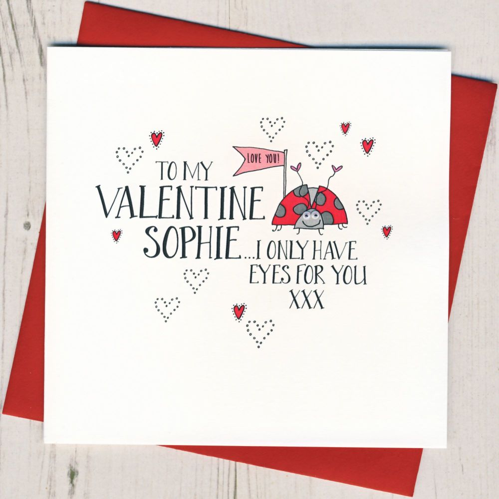 Personalised Wobbly Eyes Lucky Lady Valentines Card
