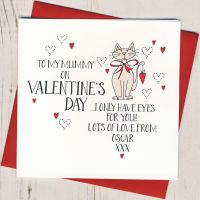 <!-- 025 -->Personalised Valentines Card From The Cat or Cats