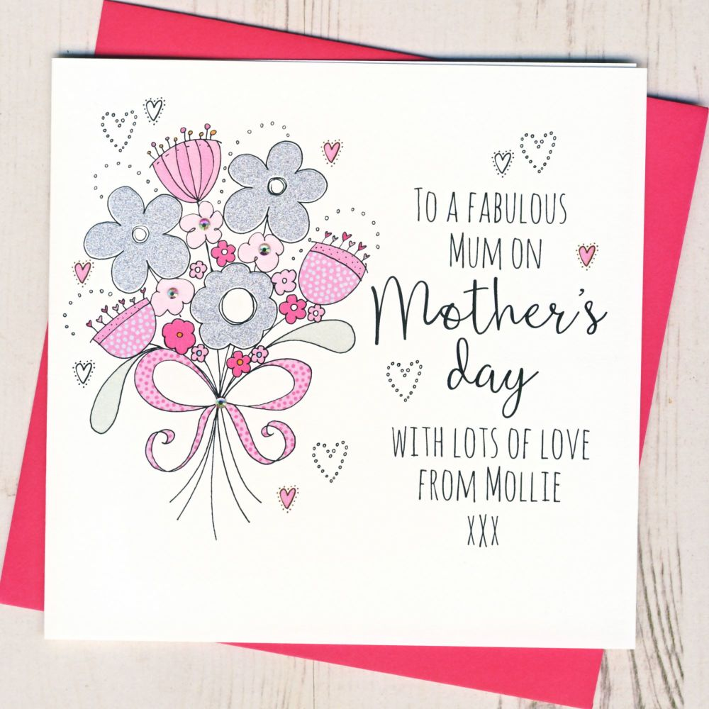 Personalised Glittery 'Thank You' Mother's Day Card